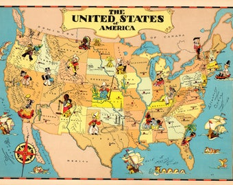 1930 S Vintage United States Picture Map Cartoon Map Usa Print Childrens Room Decor Map Collector Gift
