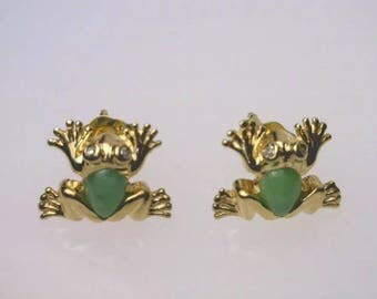 Vintage 10K Yellow Gold Green Jade Frog Diamond Earrings