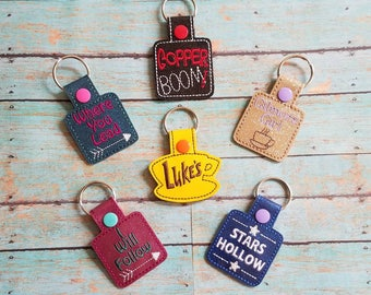Gilmore Vinyl Key Fob Snap Tab! Luke's! Where You Lead I Will Follow! Copper Boom! Stars Hollow! Girls! Customize Your Color Thread & Vinyl!