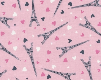 Paris Eiffel Tower Fabric, Pink Paris Fabric