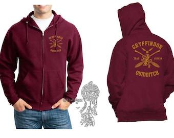 SEEKER - Gryffin Quidditch team Seeker Yellow print printed on Maroon Zipper Hoodie