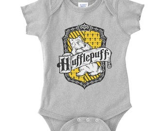 Huffle #2 Crest on Infant Baby Rib Lap Shoulder Creeper Onesie