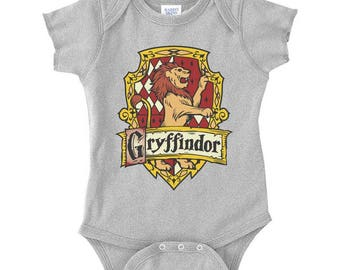 Gryffin #2 Crest Color on Infant Baby Rib Lap Shoulder Creeper Onesie