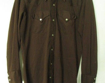 """Vintage H Bar C Long Tail California Ranchwear Mens Brown Western Shirt Sz L approximal (Chest 44"""") Used Condition"""