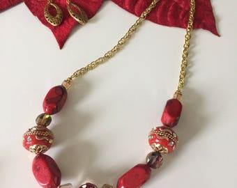 Elegant Red Necklace & Earrings