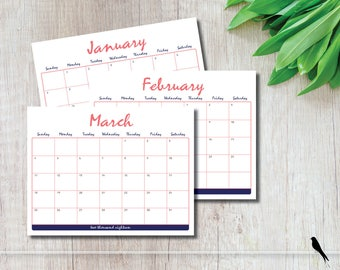 Rustic 2018 Printable 12 Month Wall Calendar - Fun Casual Navy, Coral Monthly Wall Calendar Home, Office, Classroom - Instant Download