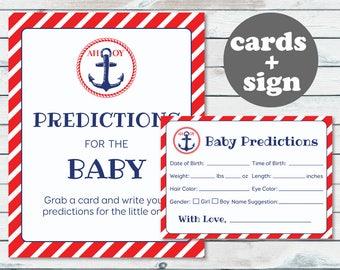 Baby Predictions Cards, Nautical Predictions For Baby, Baby Statistics Game, Nautical Predictions Cards, Anchor Stats Game