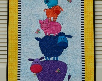 "Quilt for Sale, ""Barnyard Friends"" is a bright colored appliqued wall quilt perfect for a child's room/ animal wall quilt/baby's room décor"