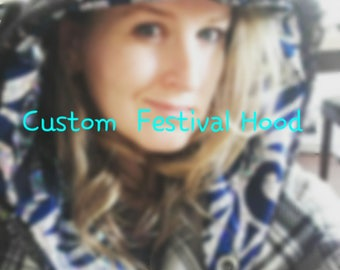 Custom Festival Hood/ rave hood/ mermaid hood/ spirit hood/burning man hood