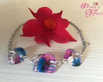 Bracelet Cyclamen Blue-flowers-resin/cyclamen bracelet-blue real flowers-resin