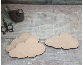 Set of 10 clouds blank height 6.5 cm width 11 cm thickness 6mm