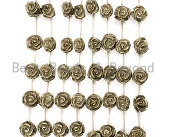 "Quality Natural Pyrite Beads, Rose Flower Pyrite Gemstone Beads,8mm/10mm/12mm/14mm/18mm, 15.5"" Full Strand, SKU#W26"