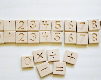 Number tiles - math toy - learning toys - number tracing cards - Montessori - Waldorf toys