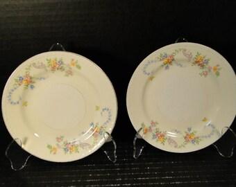 "TWO Homer Laughlin Eggshell Georgian Dubarry Bread Plates 6 1/4"" RARE"