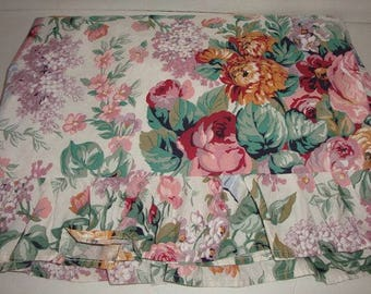 Vintage Ralph Lauren Allison Floral Twin Size Ruffled Flat Bed Sheet 100% Cotton Shabby Cottage CHIC Like New