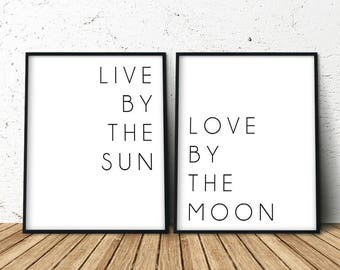 Live By The Sun, Art Print Above Bed, Decor Above Bed, Set of 2 Prints, Trending Now, Above Bed Art, Large Posters, Extra Large Wall Art