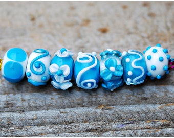 Lampwork Bead Set Handmade White and Turquoise Light Blue color Mix Glass SRA artisan diy jewelry supplies flowers polka dot Rondelle Beads