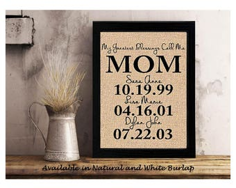 Personalized Gift for MOM | Mothers Day Gift from Kids | Gifts for Mom | My Greatest Blessings Call Me Mom | Family Date Sign Gift for Mom