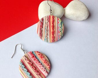 Colorful Earrings , Gift for her , Drop Dangle Earrings, Modern Earrings , Gift under 15 , Polymer clay earrings , Contemporary Jewelry
