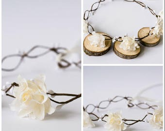 Ivory Roses Rustic Wedding Bridal Hair Wreath hairband accessories Flower Girl crown bridal Bride Crown