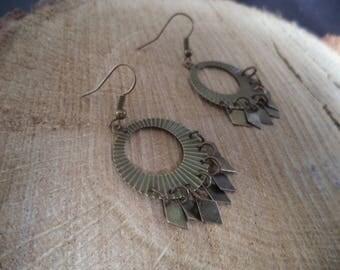 Bronze earrings bronze Hoop and diamond
