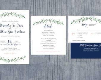 Greenery Watercolor Wedding Invitations With Green, Navy and Pink