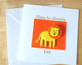 Lion  card, First birthday card oy, 1st 2nd 3rd 4th 5th 6th birthday, Age 1, One, Personalised lion card, animal, felt card, children's card