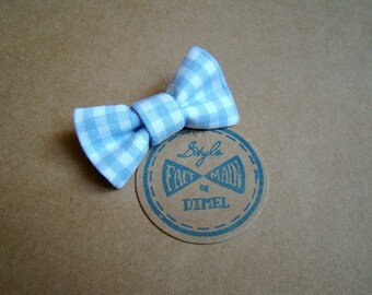 girl woman blue Gingham Bow hair clip
