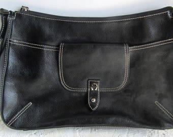 Stylish Vintage Etienne Aigner Black Genuine Leather Shoulder Bag Purse