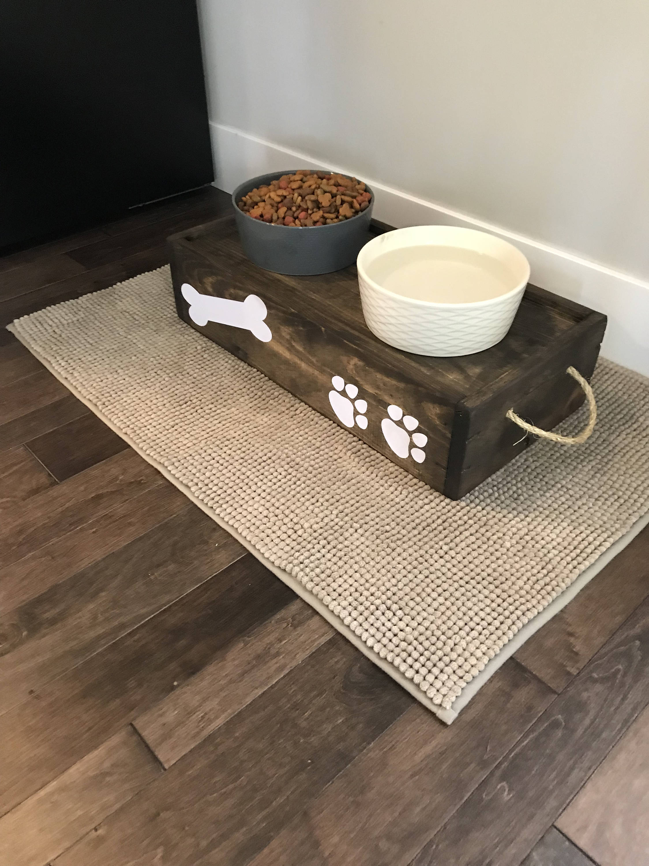 Wood Dog Food Bowl Stand