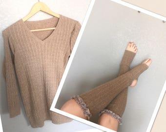 Upcycled sweater yoga socks, ruffle trim boot socks reclaimed material