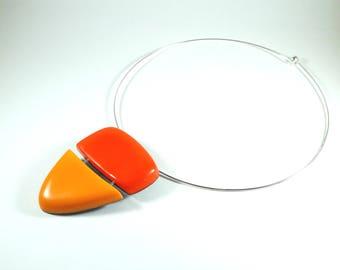 Choker necklace red poppy and Tangerine - PIER'LI