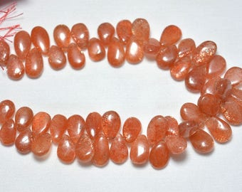 Sunstone Pear Shape Beads, 7x10mm - 8x13mm, Sunstone Smooth Pear Shape Beads, Briolette Beads, Gemstone For Jewelry, 8 Inches Strand