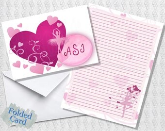 Ballet Love Note Cards; Lined; Folded Card; Postcard; PDF; E-Card