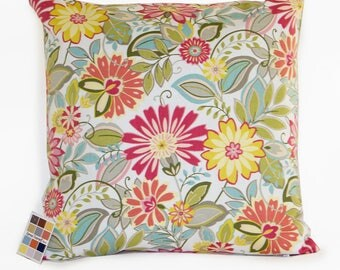 Floral Pillow Cover in Pink Green Yellow and Blue, Modern Floral Pillow Cover, Pillow Cover in Pink and Yellow, Shabby Chic Pillow Cover