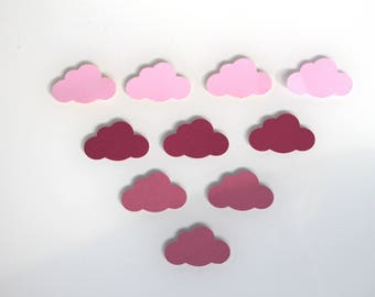 10 Stickers clouds cardstock - shades of pink
