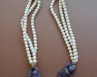 Amethyst Pearl Necklace years 1980