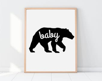 Baby Bear, Nursery Decor, Baby Shower, Nursery Prints, Baby Gift, Minimalist Nursery, Mama Bear, Nursery Printable, Baby Girl, Baby Boy, Kid