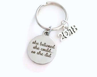 Job Promotion Gift, 2017 2018 Congratulation Key Chain, Milestone Achievement Keychain Keyring She believed she could so she did 2019 girl
