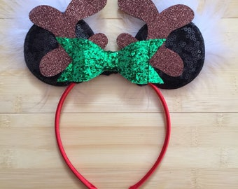 Minnie Mouse, Christmas headband, Reindeer Minnie Inspired Ears, Reindeer Ears, Minnie headband, Chrsitmas gift, green bow, RTS