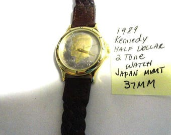 1989 John F Kennedy Half Dollar Quartz Watch Japan Movement 37mm