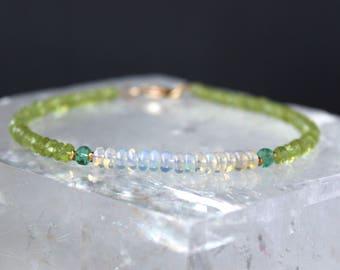 Peridot Bracelet, August Birthstone, Opal Bracelet, Ethiopian Opal Bracelet, emerald Bracelet, Dainty Beaded gemstone bracelet