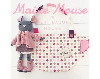 Cloth Doll Maisie Mouse with Clothes, Accessories and Teacup Carry House PDF Sewing Pattern