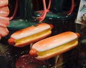 Virginia Anne Ceramics Hot Dogs on Buns Salt and Pepper Shakers from Orange California circa 1950s