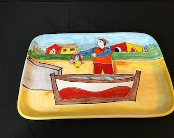 Vintage Nino Parrucca Ceramic Plate/Platter Art Pottery
