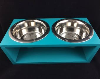 Customizable Elevated Pet Feeder - 2 1-Quart Stainless Steel Bowls Customize Yours!