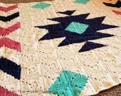Granny Square Blanket Crochet PATTERN - Blanket Crochet Pattern - Afghan Crochet Pattern - Southwest Blanket