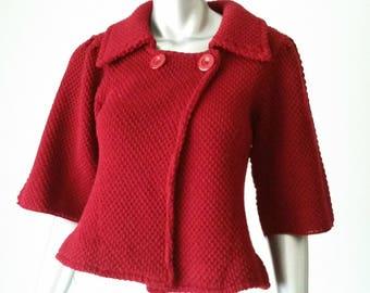 90s Red Sweater Jacket | Swing Jacket | Retro Mod Jacket | Large Lapels |