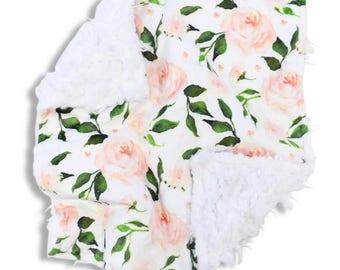 Rose GardenFloral Minky Baby Girl Lovey   Green, White and Blush Flower Security Blanket   Mini Baby Blanket   Faux Fur Lovie