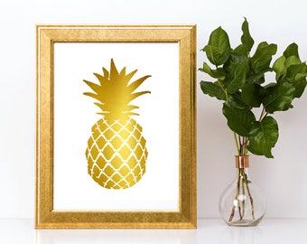 Gold foil print,Pineapple wall art,gold foil, foil print,gold foil wall art,gold foil art,foil art,pineapple,pineapple print,pineapple art